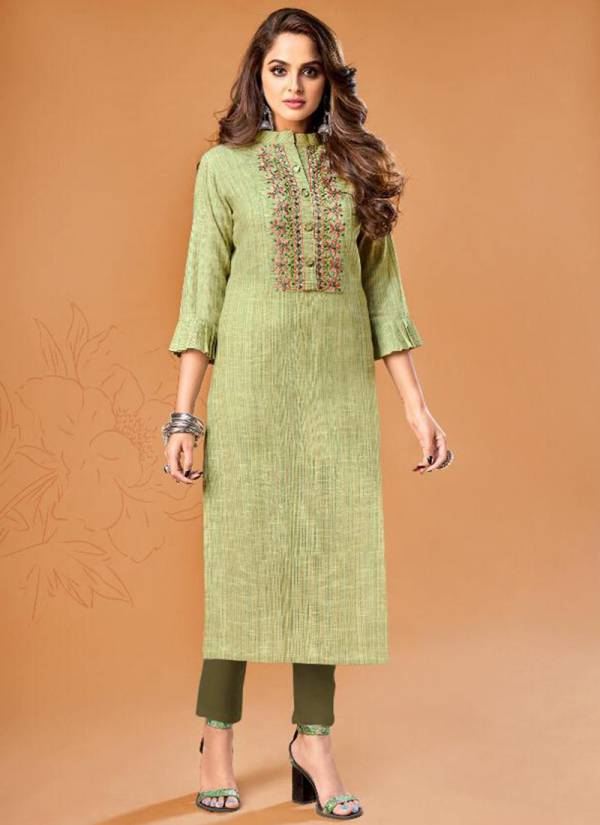 Vamika Rosy Series 101-106 Premium Cotton With Self Weaved Work Festival Wear Kurti Collection