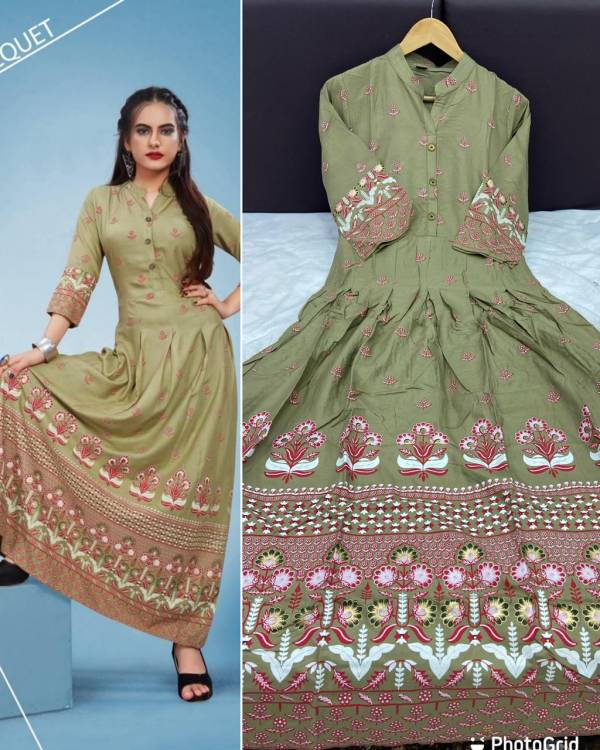 Glam Elegance Series 781-790 Rayon With Foil Printed Designer Gown Style Casual Wear Long  Kurti Collection