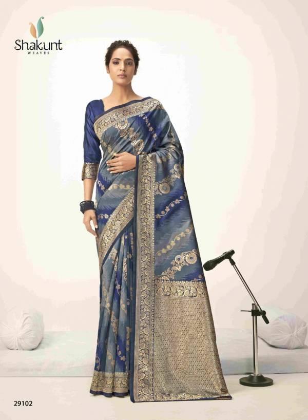 Shakunt Ghazar Art Silk Fancy Designer Embroidery Work With Rich Pallu Wedding Wear Designer Sarees Collection