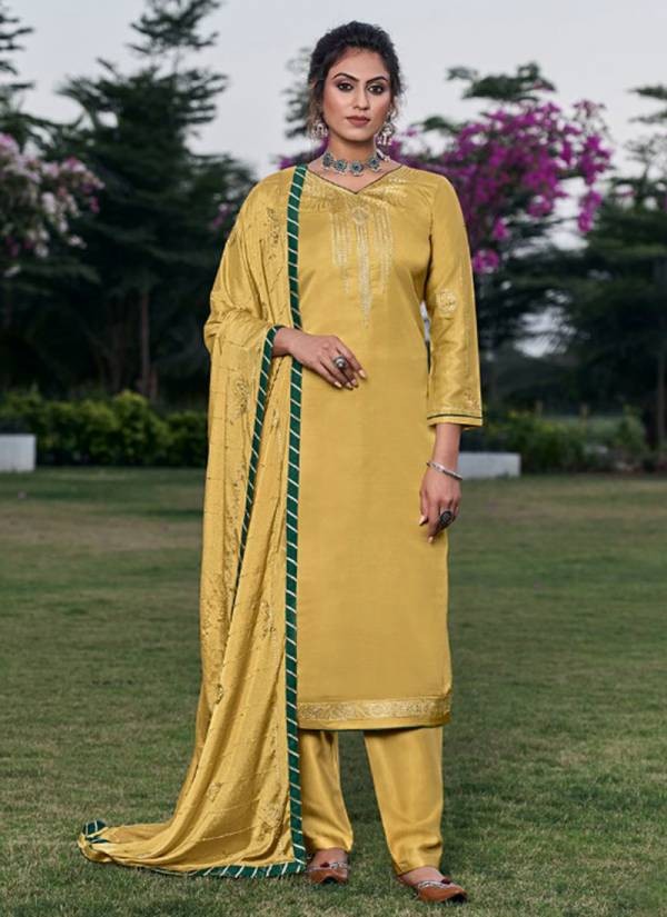 Four Dots Shubharambh Vol 5 Modal Satin New Fancy Sequence Work Straight Suits Collection
