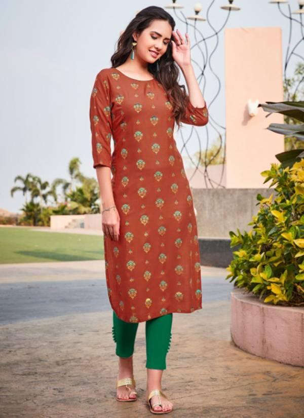 R Studio Baanvi Aisha Vol 1 Series 1001AISHA-1008AISHA Rayon Slub Foil Printed With Hand Work Daily Wear Kurtis Collection