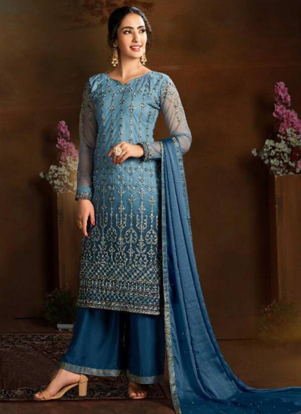 Taslim Nazakat Series 9101-9105 Butterfly Net With Heavy Embroidery Work & Diamond Festival Wear Palazzo Suits Collection