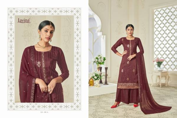 Lavina Vol 123 Series 123-001A - 123-001D Chinnon Embroidery Work Party Wear Latest Designer Palazzo Suits Collection