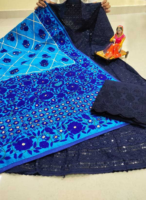 VE Pure Cotton Fabric Beautiful Chikan Embroidered Sequins Work Reception Wear Designer Anarkali Kurtis Collection (38-48 Sizes)
