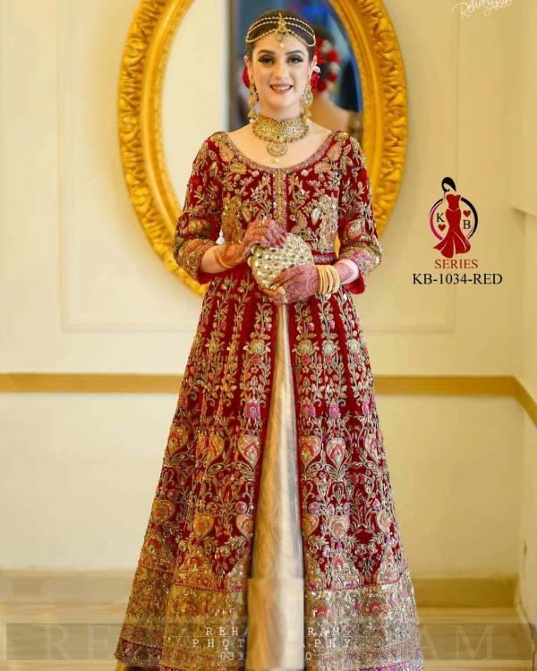 Bhavesh Vaghasiya KB Series 1034 Markable Velvet With Embroidery Work Fancy Dori Work Latest Designer Bridal Wear Salwar Suits Collection