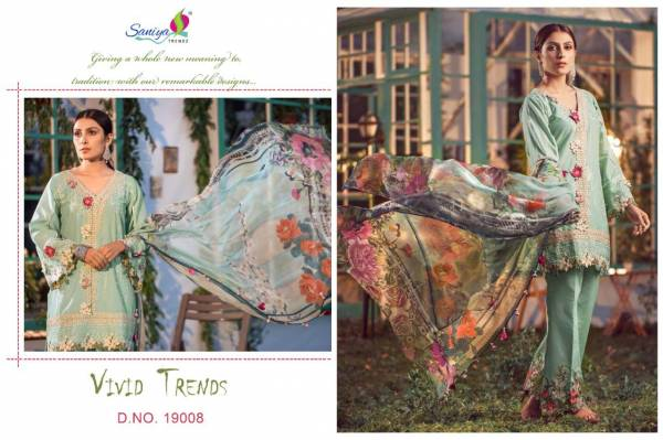 Saniya Trendz Elaaf 3 Series 19008-19010 Pure Cambric Cotton With Heavy Embroidery Work & Chikan Kari Work Festival Wear Pakistani Suits Collection