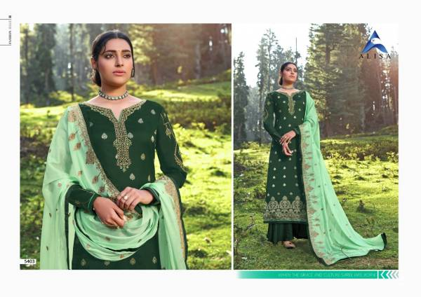 Alisa Mahera Jacquard Series 5401-5406 Silk Jacquard With Heavy Hand Work Designer Festival Wear Palazzo Suits Collection