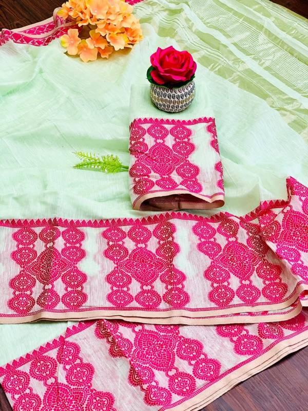 Nakshatra Fashion Studio Vol 16 Linen Fancy Embroidery Work Casual Wear Designer Sarees Collection