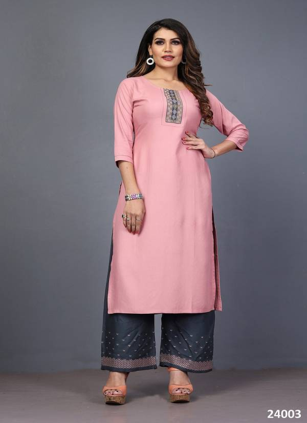 An Bazaar Mahek Vol 2 Series 24001-24006 Rayon With Embroidery Work New Designer Fancy Casual Wear Kurtis With Palazzo Collection