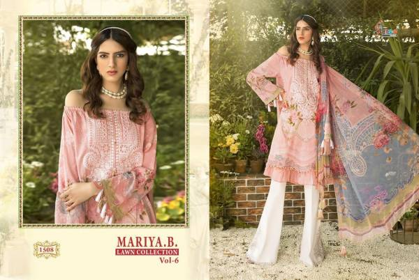 Shree Fab Mariya B Lawn Vol 6 Series 1508-1513 Fancy Jam Cotton Printed With Embroidery Work New Festival Wear Pakistani Suits Collection