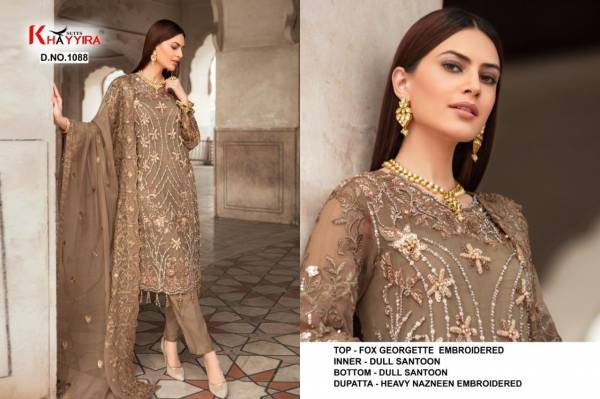 Khayyira Suits Zebtan Faux Georgette Embroidery Stone Work Eid Pakistani Suits Collection