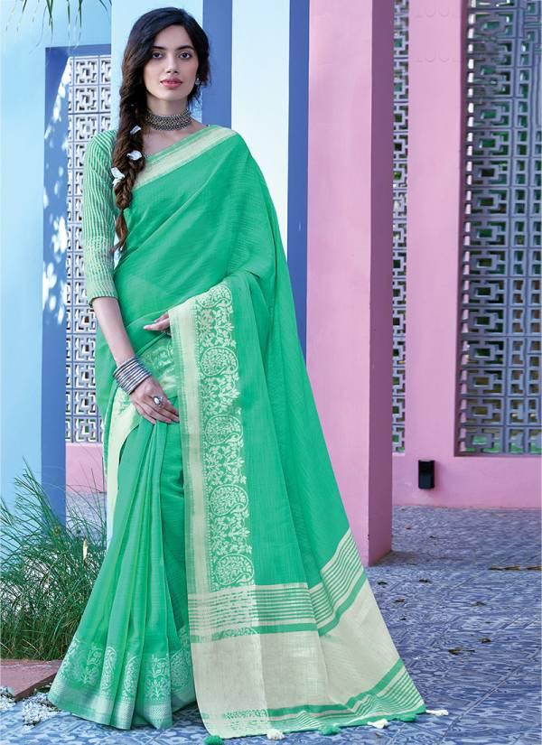 Sangam Floral Series 1001-1006 Linen Cotton Casual Wear Sarres Collection