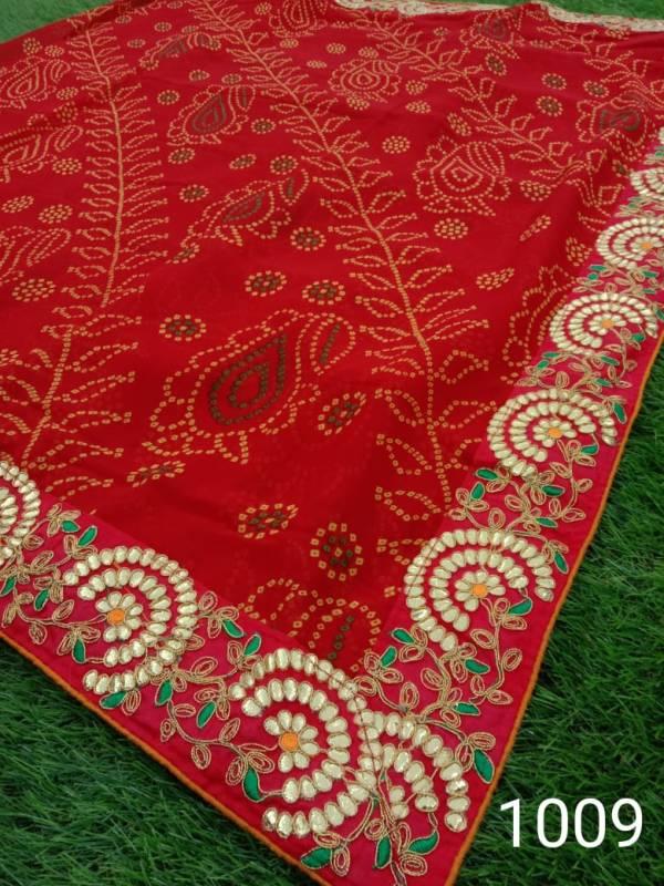 Manokamna Trendz Maharani Series 1001-1011 Latest Georgette With Fancy Heavy Border Work Bandhani Printed Sarees Collection