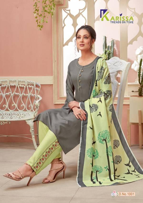 Karissa Vidisha Vol 2 Series 1001-1008 Premium Liva With Thread Work Readymade Salwar Suits Collection