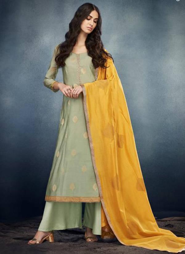Ganga Erica Series 7619-7624 Kora Silk Banarasi Jacquard With Embroidery Hand Work Designer Suits Collection