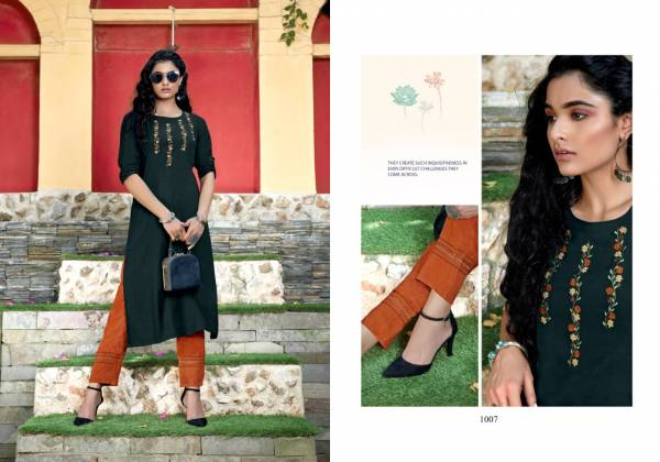 Sweety Fashion Florence Rayon Fancy Work Stylish Look Kurti With Pant Collection