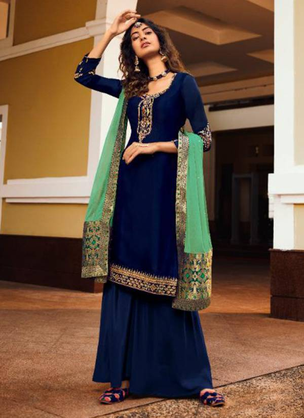 Zubeda Manzri Series 21601-21606 Satin Georgette With Embroidery Work Kitty party Wear Palazzo Suits Collection