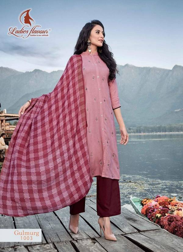 Ladies Flavour Gulmurg Series 1001-1008 Rayon With Embroidery Work New Designer Casual Wear Readymade Salwar Suits Collection
