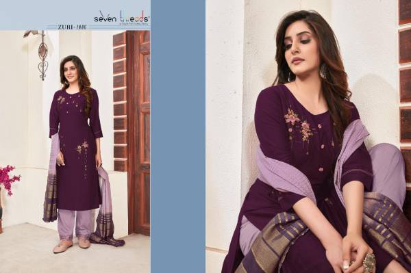 Seven Threads Zuri Series 1001-1007 Riva Viscose Silk With Elegent Hand Work & Embroidery Work Exclusive Readymade Salwar Suits Collection