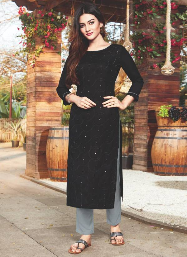 Manas Fab Sequence Series 9001-9010 Rayon With Embroidery Work Casual Wear Kurti Collection