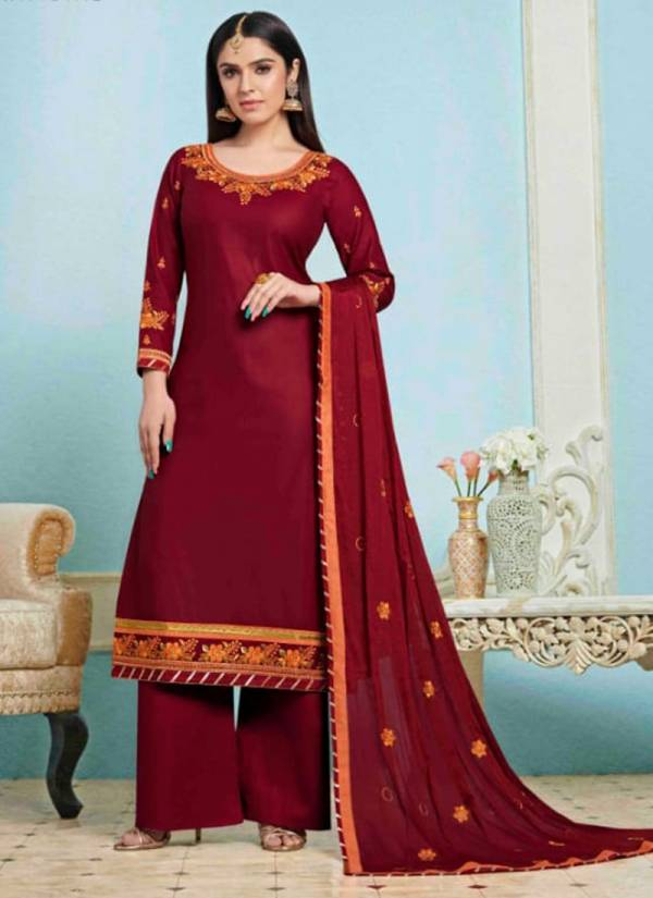 Kalarang Glory Series 1771-1774 Jam Silk Cotton With Embroidery Work Suits Collection