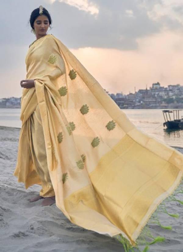 Rajtex Fabric Kamadri Silk Series 152001-152006 Tissue With Zari Weaving Designer Party Wear Sarees Collection