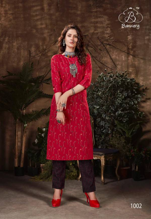 Banwery Bell Votam Series 1001-1006 Heavy Magic Slub With Foil Printed Kurti With Pent Collection