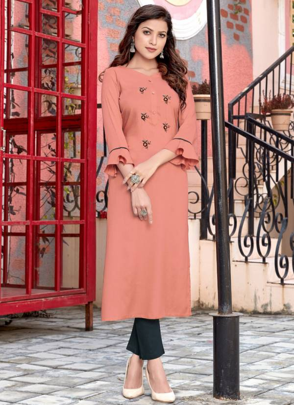 4 Colours Womaniya Rayon With Manual Work Straight Cut Kurtis With Bottoms Collection