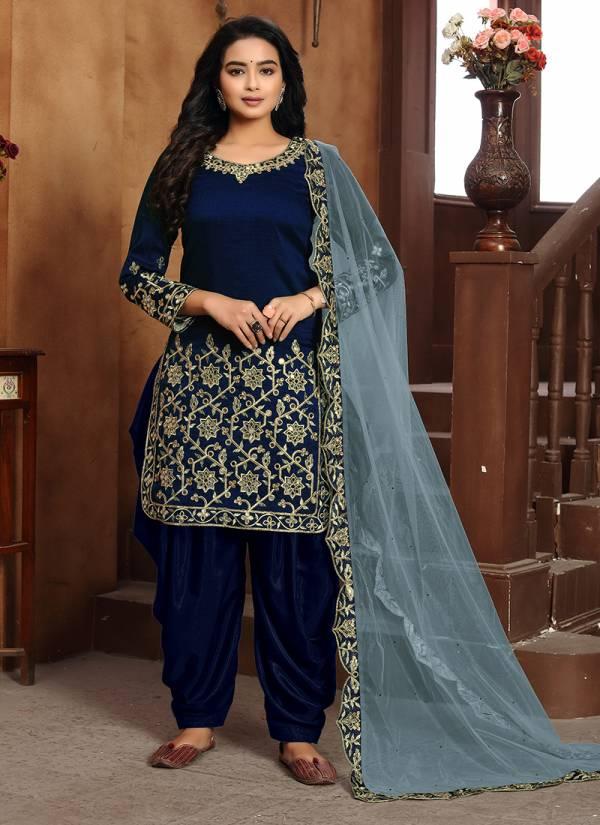 Dani Creations Aanaya Vol 114 Series 1401-1405 Art Silk Latest Designer New Mirror Work Party Wear Punjabi Patiyala Suits Collection