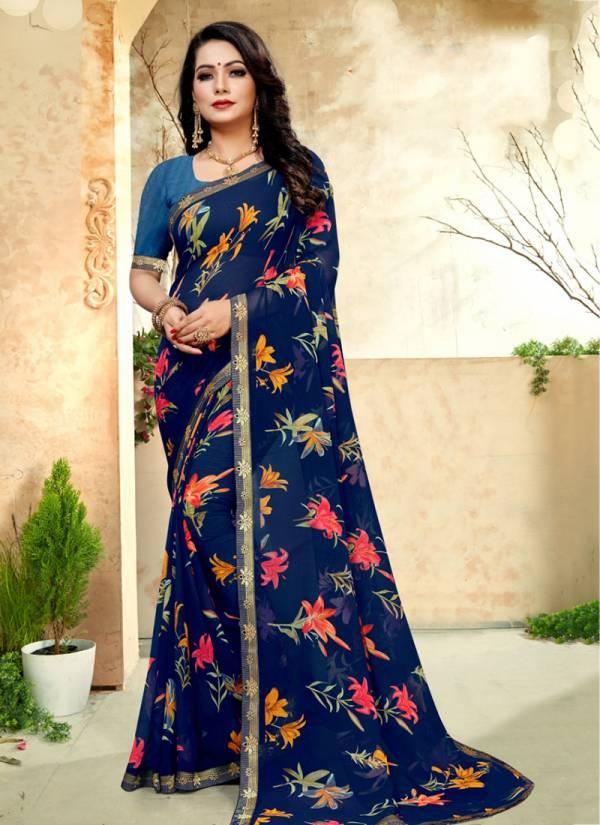 Kodas Sitka Kohinoor Series 6355-6362 Marble Chiffon Printed With Border Daily Wear Beautiful Sarees Collection