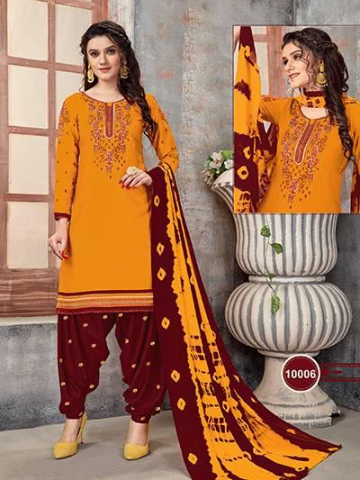 An Bazaar Patiyala Vol 10 Series Patiyala10001-Patiyala10009 Glace Cotton With Embroidery Work Regular Wear New Designer Patiyala Suits Collection