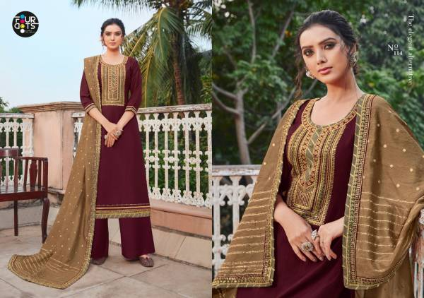 Four Dots Manjari Series 111-114 Parampara Silk With Cording Embroidery Work & Sequance Work Designer Palazzo Suits Collection