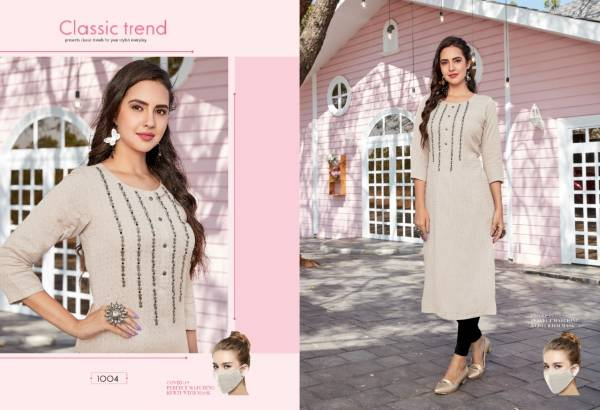 Sweety Fashion Flash Series 1001-1008 Rayon Base With Hand Work Designer Casual Wear Straight Kurtis Collection