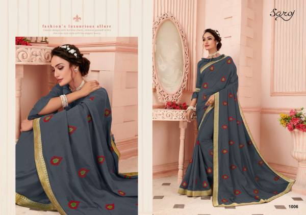 Saroj Biography Series 1001-1008 Vichitra Silk With Fancy Butta Work Stylish Look Party Wear Sarees Collection