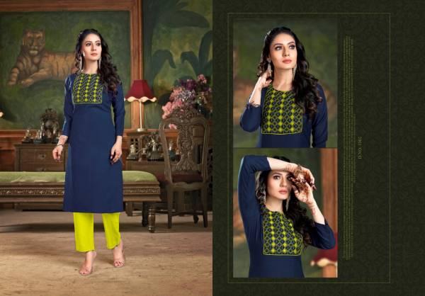 Nitisha NX Gangour Heavy Soft Cotton Slub With Printed Embroidery Work Kurtis With Pants Collection