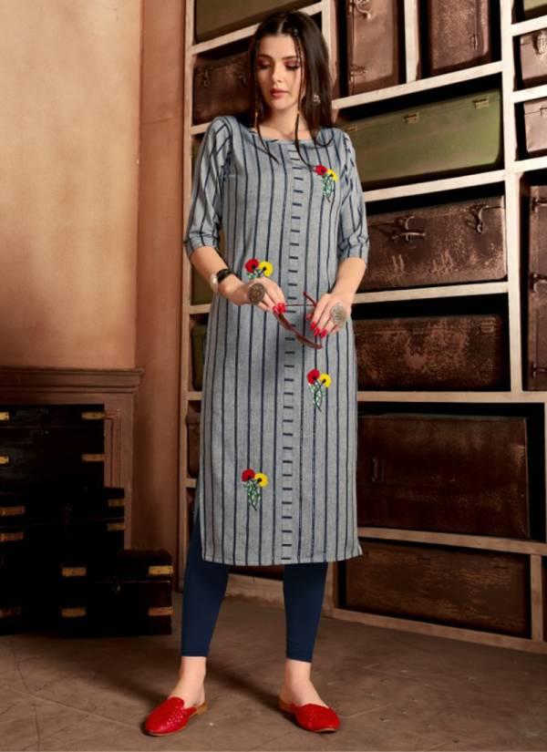 Fashion Galleria Krisha Vol 9 Series 1024K-1027K Pure Cotton With Jari Stripe And Stylish Hand Embroidery Work Casual Wear Kurti Collection
