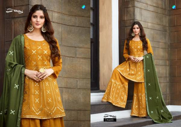 Your Choice Mumtaz Series 3605-3608 Heavy Chinnon Silk With Heavy Embroidery Work Sharara Suits Collection