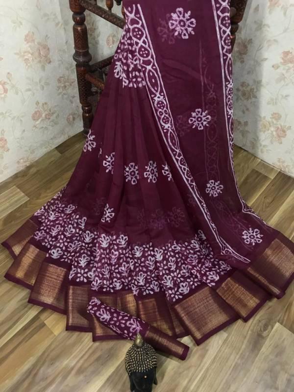 Manokamna Trendz Batik Super Series A-G Super Soft Cotton Silk With Printed Casual Wear Sarees Collection