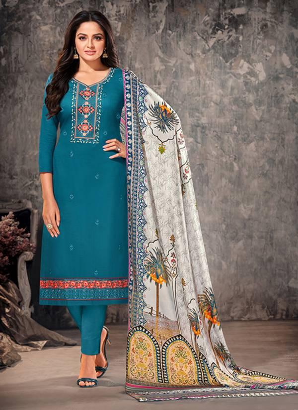 An Bazaar Orrly Jam Cotton Embroidery Work Regular Wear Salwar Suit Collection