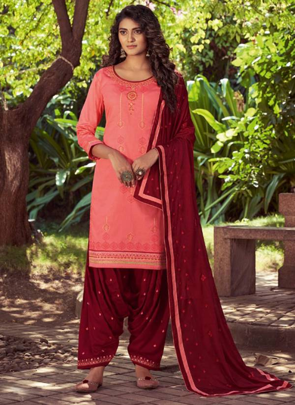 KVS Patiyala House Vol 80 Series 5631-5638 Exclusive Designer Cotton Satin With Stylish Look Embroidery Work Patiyala Suits Collection