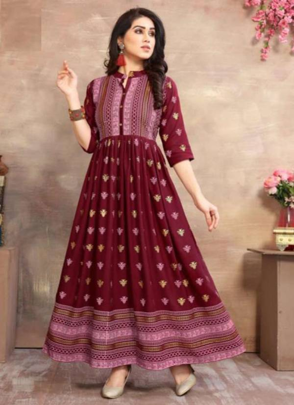 Fashion Valley Dresses Golden City Series 101GC-106GC Rayon Foil Printed Designer Long Gown Style Kurtis Collection