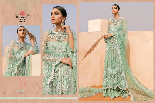 Ramsha Net With Embroidery Work Designer Eid Special Pakistani Suits Collection