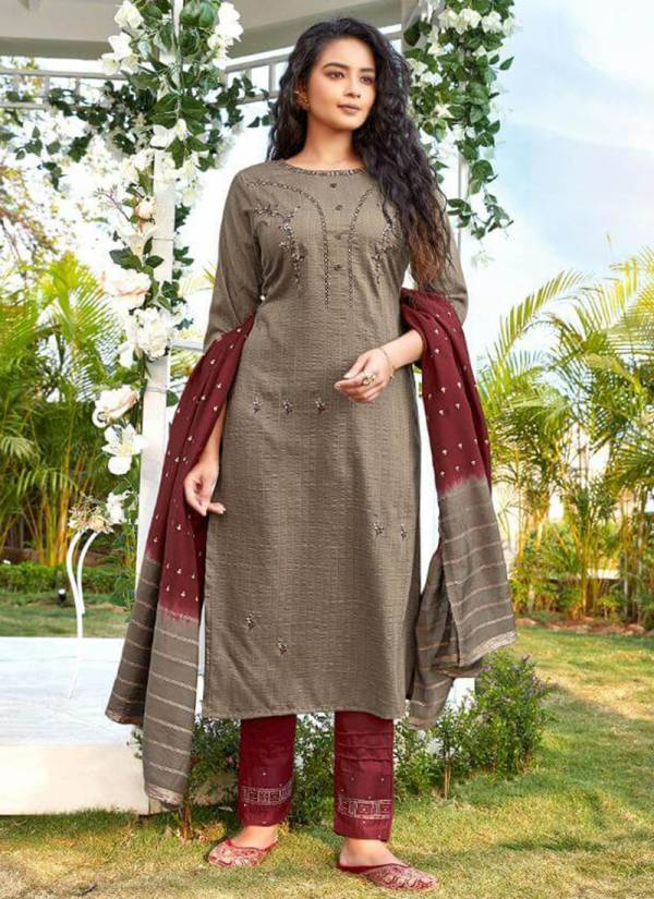 Ladies Flavour Aarohi Vol 4 Series 1001-1005 Chinnon Lining With Embroidery Work Readymade Salwar Suits Collection