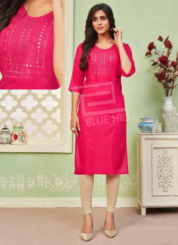 Blue Hills Colorbar Rayon FAncy Mirror Work Regular Wear Designer Kurti Collection