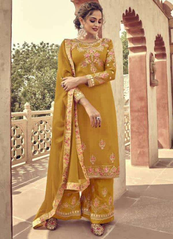 Aamyra Designer Hinaaz H-101 - H-104 Pure Upada Viscose Embroidery And Mirror Work Latest Designer Palazzo Suits Collection
