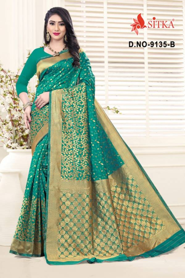 Sitka Natural  Silk Handloom Jacquard Designer Look Fancy Sarees Collection