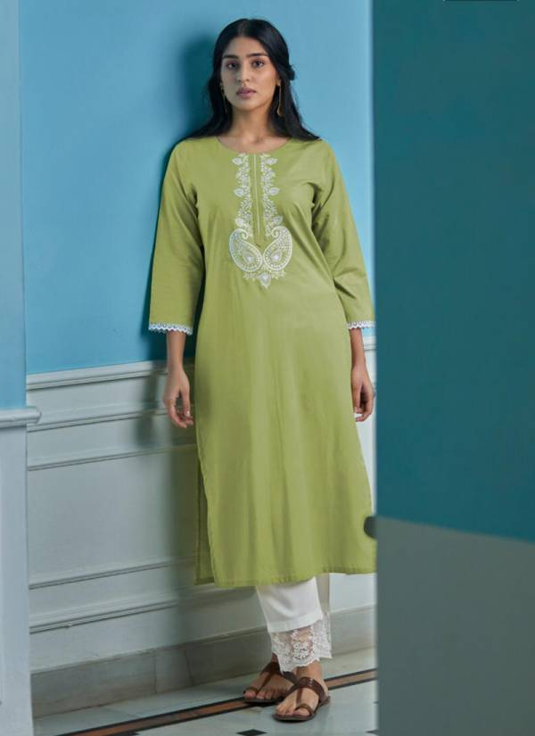Four Buttons Vibrant Series 1546-1550 Lucknowi Embroidery Work With Premium Woven Cotton Latest Designer Kurtis With Pants Collection