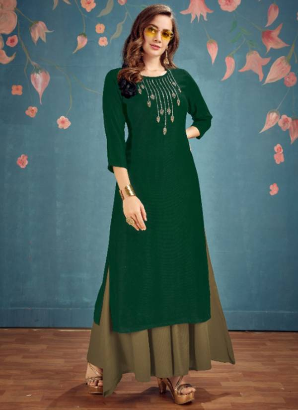 Sweety Fashion Disc Series 1001-1006 Rayon Twill Fanct Hand & Embroidery Work Kurti Palazzo Diwali Special Collection