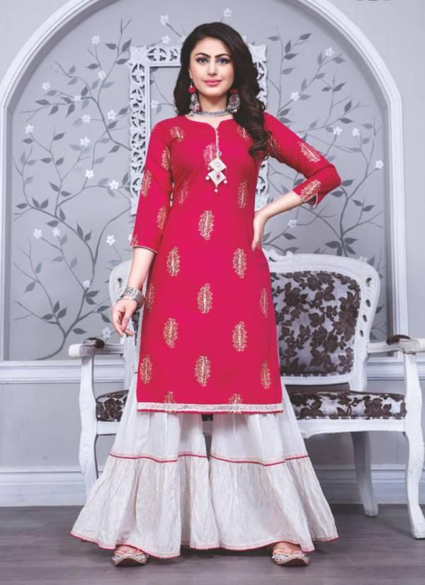 Kiana Fashion Sizzle Series 001-008 Modal Flex Kurti With Cotton Mal Sharara Latest Designer Casual Wear Fancy Collection