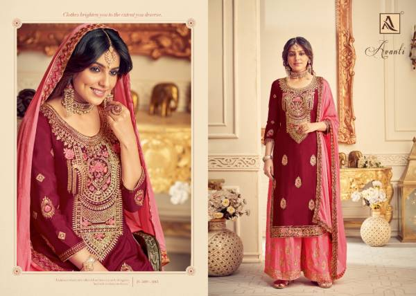 Alok Suit Avanti Series 509-001 - 509-008 Pure Chinnon With Heavy Embroidery Work With Swarovski Diamond Work Wedding Wear Suits Collection